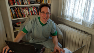 Dr. Barkan is all set-up for telemedicine appointments!